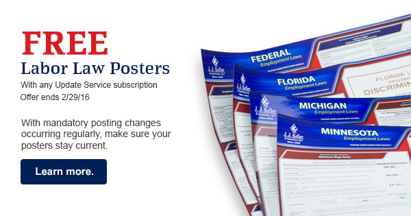 Free labor law posters with purchase of any subscription service.