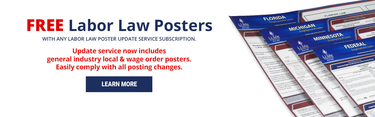 Free labor law posters with purchase of any LLP subscription service.